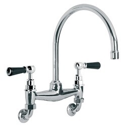 LEFROY BROOKS BL-1518 CLASSIC BLACK 13 3/8 INCH TWO HOLES WALL MOUNT KITCHEN BRIDGE MIXER WITH LEVER HANDLES