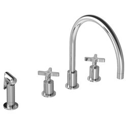 LEFROY BROOKS K1-3600 KAFKA 13 1/4 INCH FOUR HOLES DECK MOUNT KITCHEN MIXER WITH CROSS HANDLES AND PULL-OUT HAND SPRAY