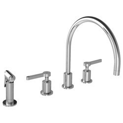 LEFROY BROOKS K1-3601 KAFKA 13 1/4 INCH FOUR HOLES DECK MOUNT KITCHEN MIXER WITH LEVER HANDLES AND PULL-OUT HAND SPRAY