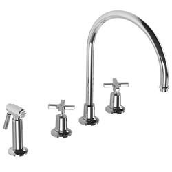 LEFROY BROOKS M2-4707 FLEETWOOD 13 5/8 INCH FOUR HOLES DECK MOUNT KITCHEN MIXER WITH CROSS HANDLES AND METAL PULL-OUT HAND SPRAY
