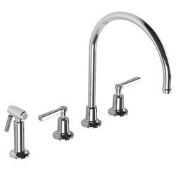LEFROY BROOKS M2-4708 FLEETWOOD 13 5/8 INCH FOUR HOLES DECK MOUNT KITCHEN MIXER WITH LEVER HANDLES AND METAL PULL-OUT HAND SPRAY