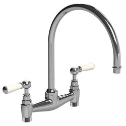 LEFROY BROOKS WL-1517 CLASSIC 13 1/2 INCH TWO HOLES DECK MOUNT KITCHEN BRIDGE MIXER WITH WHITE LEVER HANDLES