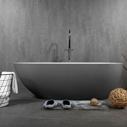 EVIVA EVTB1017-60WH VIVA 60 INCH SOLID SURFACE GREY AND WHITE FREE-STANDING BATHTUB
