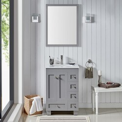 EVIVA EVVN69-24 ACCLAIM 24 INCH TRANSITIONAL BATHROOM VANITY WITH WHITE QUARTZ COUNTERTOP AND UNDERMOUNT PORCELAIN SINK