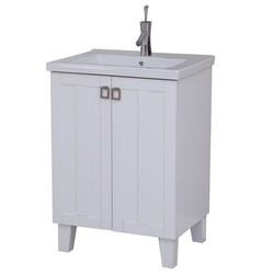 INFURNITURE IN3724-W 24 INCH SINGLE SINK BATHROOM VANITY IN WHITE WITH THICK EDGE CERAMIC TOP