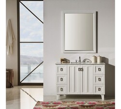INFURNITURE IN3248-W+CW TOP 48 INCH SINGLE SINK BATHROOM VANITY IN WHITE WITH THICK EDGE CARRARA WHITE MARBLE TOP