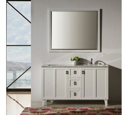INFURNITURE IN3260-W+CW TOP 60 INCH DOUBLE SINK BATHROOM VANITY IN WHITE WITH THICK EDGE CARRARA WHITE MARBLE TOP