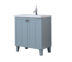 INFURNITURE IN3730-BL 30 INCH SINGLE SINK BATHROOM VANITY IN BLUE WITH THICK EDGE CERAMIC TOP