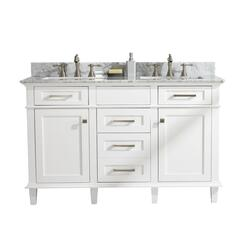 LEGION FURNITURE WLF2254-W 54 INCH WHITE FINISH DOUBLE SINK VANITY CABINET WITH CARRARA WHITE TOP