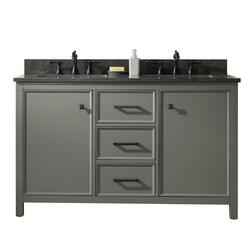 LEGION FURNITURE WLF2154-PG 54 INCH PEWTER GREEN FINISH DOUBLE SINK VANITY CABINET WITH BLUE LIME STONE TOP