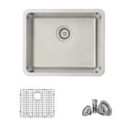 STYLISH S-407TG 22 X 18 INCH DUALMOUNT SINGLE BOWL 18 GAUGE STAINLESS STEEL KITCHEN SINK WITH GRID AND STRAINER