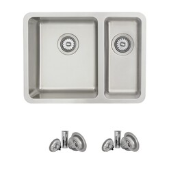 STYLISH S-412T 23.5 X 18 INCH DUALMOUNT DOUBLE BOWL 18 GAUGE STRAINLESS STEEL KITCHEN SINK WITH STRAINERS