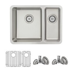 STYLISH S-412TG 23.5 X 18 INCH DUALMOUNT DOUBLE BOWL 18 GAUGE STRAINLESS STEEL KITCHEN SINK WITH GRIDS AND STRAINERS