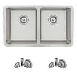 STYLISH S-414T 30 X 18 INCH DUALMOUNT DOUBLE BOWL 18 GAUGE STAINLESS STEEL KITCHEN SINK WITH STRAINER