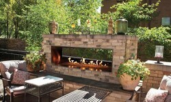 CAROL ROSE OLL48SP12SN 48 INCH OUTDOOR SEE-THROUGH LINEAR FIREPLACE, NATURAL GAS