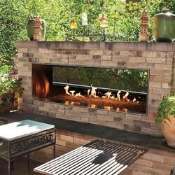 CAROL ROSE OLL60SP12SN 60 INCH OUTDOOR SEE-THROUGH LINEAR FIREPLACE, NATURAL GAS