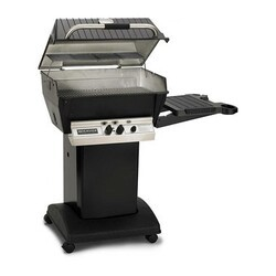 BROILMASTER H3PK1 H3X SERIES DELUXE PROPANE GAS GRILL PACKAGE 1 WITH PAINTED STEEL CART OR BASE AND ONE SIDE SHELF - BLACK