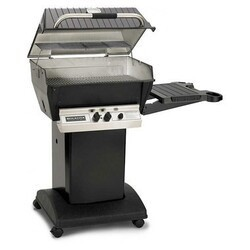 BROILMASTER H3PK1N H3X SERIES DELUXE NATURAL GAS GRILL PACKAGE 1 WITH PAINTED STEEL CART OR BASE AND ONE SIDE SHELF - BLACK