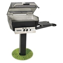 BROILMASTER H3PK2N H3X SERIES DELUXE NATURAL GAS GRILL PACKAGE 2 WITH PAINTED IN-GROUND POST AND ONE SIDE SHELF - BLACK