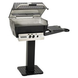 BROILMASTER H3PK3N H3N SERIES DELUXE NATURAL GAS GRILL PACKAGE 3 WITH PAINTED PATIO POST AND ONE SIDE SHELF - BLACK