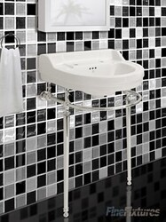 FINE FIXTURES CO20CL 22 INCH TWO HOLES CLASSIC ROUND CONSOLE BATHROOM SINK - WHITE