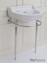 FINE FIXTURES CO24CL 24 INCH TWO HOLES CLASSIC ROUND CONSOLE BATHROOM SINK - WHITE