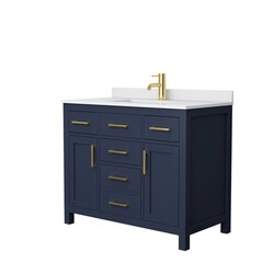 WYNDHAM COLLECTION WCG242442SBLWCUNSMXX BECKETT 42 INCH SINGLE BATHROOM VANITY IN DARK BLUE WITH WHITE CULTURED MARBLE COUNTERTOP AND UNDERMOUNT SQUARE SINK