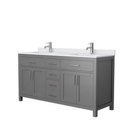 WYNDHAM COLLECTION WCG242466DKGWCUNSMXX BECKETT 66 INCH DOUBLE BATHROOM VANITY IN DARK GRAY WITH WHITE CULTURED MARBLE COUNTERTOP AND UNDERMOUNT SQUARE SINKS