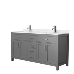 WYNDHAM COLLECTION WCG242466DKGCCUNSMXX BECKETT 66 INCH DOUBLE BATHROOM VANITY IN DARK GRAY WITH CARRARA CULTURED MARBLE COUNTERTOP AND UNDERMOUNT SQUARE SINKS