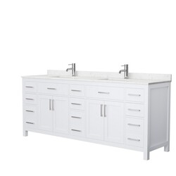 WYNDHAM COLLECTION WCG242484DWHCCUNSMXX BECKETT 84 INCH DOUBLE BATHROOM VANITY IN WHITE WITH CARRARA CULTURED MARBLE COUNTERTOP AND UNDERMOUNT SQUARE SINKS