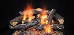 MAJESTIC STFSO18 18 INCH FIRESIDE SUPREME OAK GAS LOG SET FOR SEE-THROUGH FIREPLACE