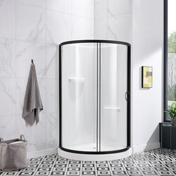 OVE DECORS 15SKA-BRE36-AC BREEZE 36 INCH SHOWER KIT WITH GLASS PANELS, WALLS AND BASE INCLUDED