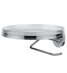 LAUFEN H3843320040001 KARTELL 7 1/4 INCH WALL MOUNT TOILET ROLL HOLDER - TRANSPARENT CRYSTAL