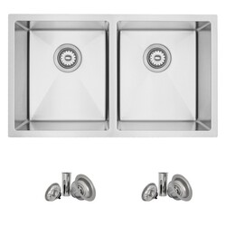 STYLISH S-401 31 X 18 INCH STAINLESS STEEL DOUBLE BASIN UNDERMOUNT KITCHEN SINK WITH STRAINERS