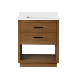 OVE DECORS 15VVAR-CARR30-129EI CARRAN 30 INCH SINGLE SINK BATHROOM OPEN SHELF VANITY WITH WHITE CULTURED MARBLE COUNTERTOP, WAX PINE FINISH AND BLACK HARDWARE