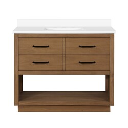 OVE DECORS 15VVAR-CARR42-129EI CARRAN 42 INCH SINGLE SINK BATHROOM OPEN SHELF VANITY WITH WHITE CULTURED MARBLE COUNTERTOP, WAX PINE FINISH AND BLACK HARDWARE