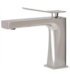 AQUABRASS ABFB19014 CHICANE 6 1/8 INCH SINGLE HOLE BATHROOM SINK FAUCET WITH POP-UP DRAIN
