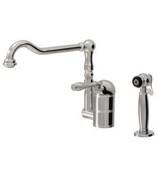 AQUABRASS ABFK4681S DOWNTON 9 1/4 INCH DECK MOUNT DUAL STREAM MODE KITCHEN FAUCET WITH SIDE SPRAY