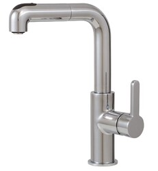 AQUABRASS ABFK5043N EATALIA 12 5/8 INCH DECK MOUNT PULL-OUT DUAL STREAM MODE KITCHEN FAUCET