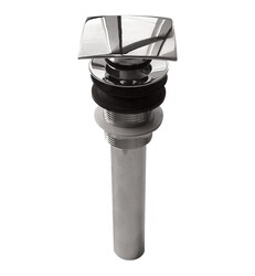 AQUABRASS ABDR00629 2 INCH SQUARE PRESS POP-UP DRAIN WITHOUT OVERFLOW