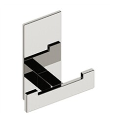 AQUABRASS ABAB08608PC SERIE 8600 3 1/2 INCH WALL MOUNT DOUBLE ROBE HOOK - POLISHED CHROME