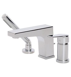 AQUABRASS ABFB17013 METRO 5 5/8 INCH THREE HOLES DECK MOUNT ROMAN TUB FAUCET WITH HANDSHOWER