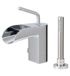 AQUABRASS ABFB32074PC LOVEME 9 5/8 INCH TWO HOLES DECK MOUNT ROMAN TUB FAUCET WITH HANDSHOWER - POLISHED CHROME