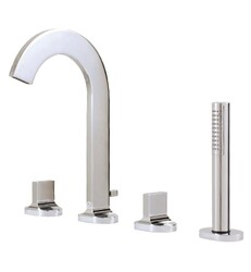 AQUABRASS ABFB39518 CUT 11 7/8 INCH FOUR HOLES DECK MOUNT ROMAN TUB FAUCET WITH HANDSHOWER