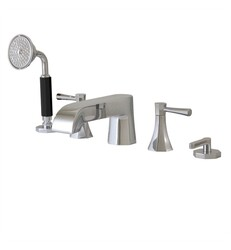 AQUABRASS ABFB53006 OTTO 4 INCH FIVE HOLES DECK MOUNT ROMAN TUB FAUCET WITH HANDSHOWER