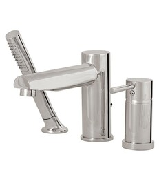 AQUABRASS ABFB61013 VOLARE STRAIGHT 6 3/8 INCH THREE HOLES DECK MOUNT ROMAN TUB FAUCET WITH HANDSHOWER