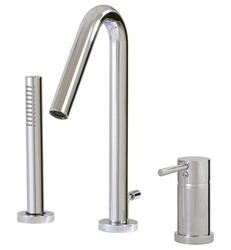 AQUABRASS ABFBX7513 XROUND 11 INCH THREE HOLES DECK MOUNT ROMAN TUB FAUCET WITH MICROPHONE STYLE HANDSHOWER
