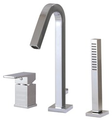 AQUABRASS ABFBX7713 XSQUARE 11 3/8 INCH THREE HOLES DECK MOUNT ROMAN TUB FAUCET WITH HANDSHOWER