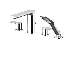 AQUABRASS ABFB15018 MIDTOWN 5 3/4 INCH FOUR HOLES DECK MOUNT TUB FILLER WITH HANDSHOWER