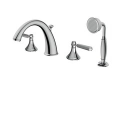 AQUABRASS ABFB83518 VITTORIO 7 1/2 INCH FOUR HOLES DECK MOUNT TUB FILLER WITH HANDSHOWER
